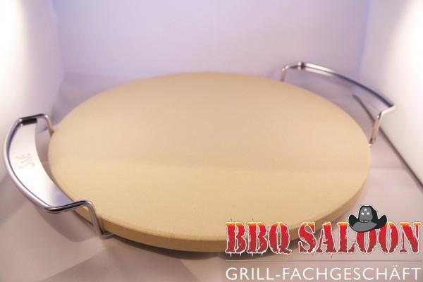 BBQ Saloon Pizzastein rund 33x1,5 cm mit Edelstahlgestell 6mm